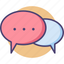 chat, chatting, communication, conversation, discussion, message, speech bubble icon