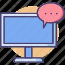 chatting, desktop, desktop messaging, forum, messaging, messenger, monitor icon