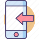 incoming, incoming call, smartphone icon