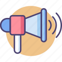 advertising, announcement, loudspeaker, marketing, media, megaphone, shoutout icon