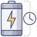 battery, charging, time, power icon