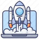 computer, rocket, start, startup icon