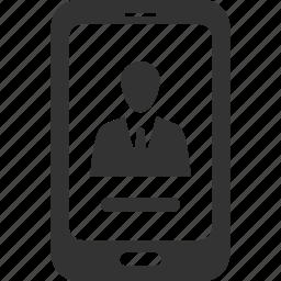 contact us, profile, smartphone icon