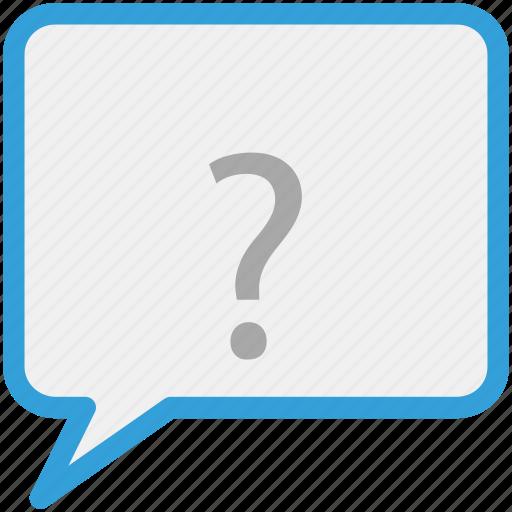 comment, question mark, speech bubble, talk icon