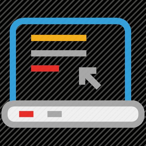 laptop, web display, webpage displaying, website icon