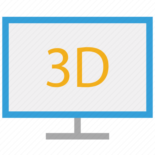 monitor, three dimension monitor, three dimensional lcd, three dimensional tv icon