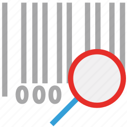 bar code, magnifier, magnifying glass, universal product code icon