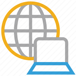 globe, internet, laptop, network icon