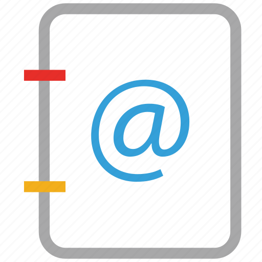 address book, diary, email address, notebook icon