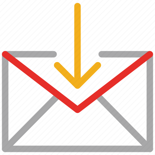 down arrow, mail, mail sign, received mail icon