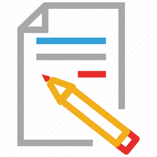 paper, pencil, text page, write icon