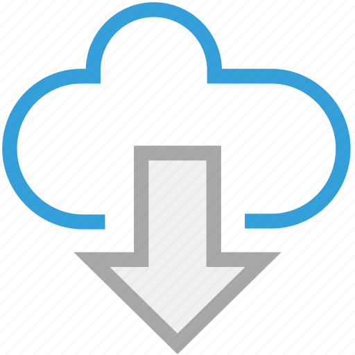 cloud network, down arrow, download, downloading icon