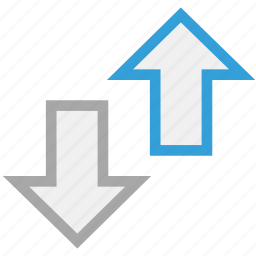 arrows, down, opposite directions, up icon