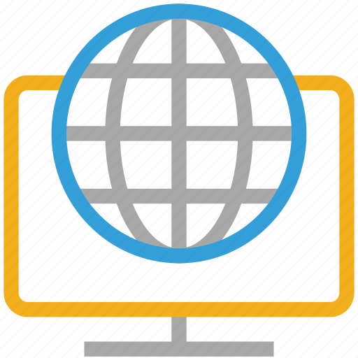 globe, internet, monitor, network icon