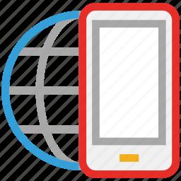 globe, internet, mobile, mobile internet icon