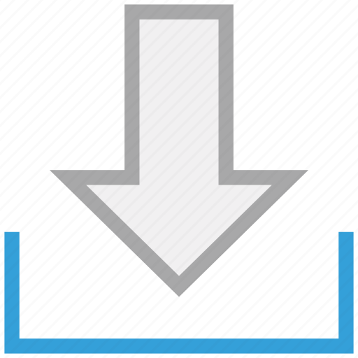 down arrow, down sign, download, downloading icon