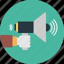 acoustic, announcement, hand, hand-held, loudspeaker, megaphone, portable
