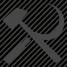 communism, communist, hammer, republic, scythe, sickle, sociality icon