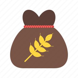 bag, brown, community, flour, people, poor, wheat icon