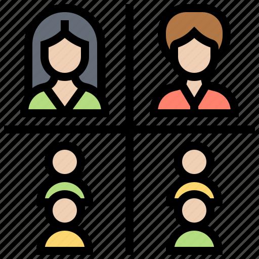 management, matrix, organization, relationship, structure icon