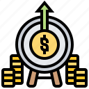 business, investment, margin, profit, target icon
