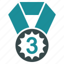 3rd place, achievement, award, bronze, medal, prize, third icon