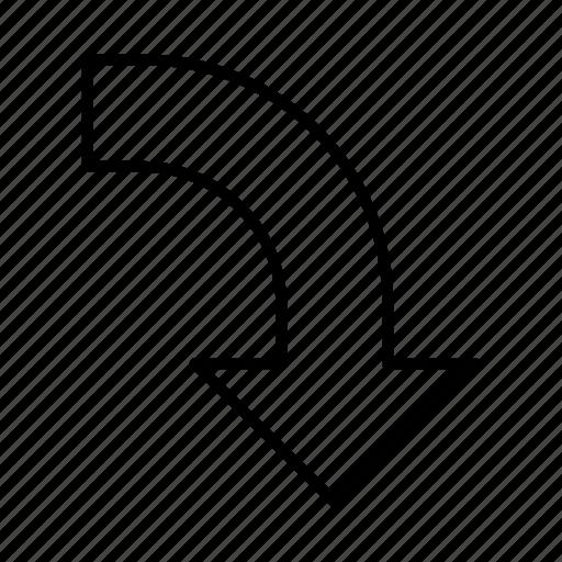 arrow, direction, down, left, path icon