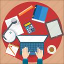 desk, education, homework, office, student icon