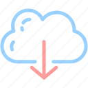 arrow, cloud, cloud computing, download, file, internet, network icon