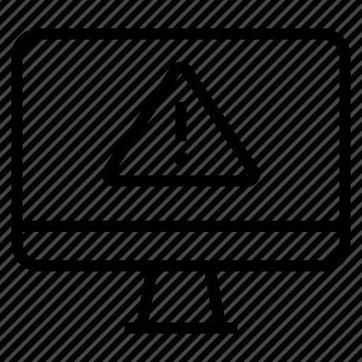 caution, computer, error, warning icon