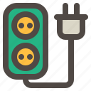 computer, cord, extension, hardware, plug, socket icon