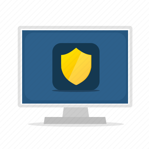 antivirus, computer, display, protection, secure, security, shield icon