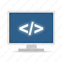 computer, display, programming, source icon