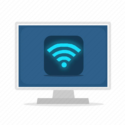 computer, connection, display, wifi icon