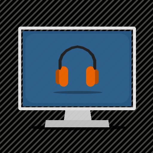 computer, display, headphone, music, sound icon