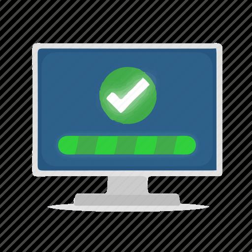 check, computer, display, install, installation, success, tick icon
