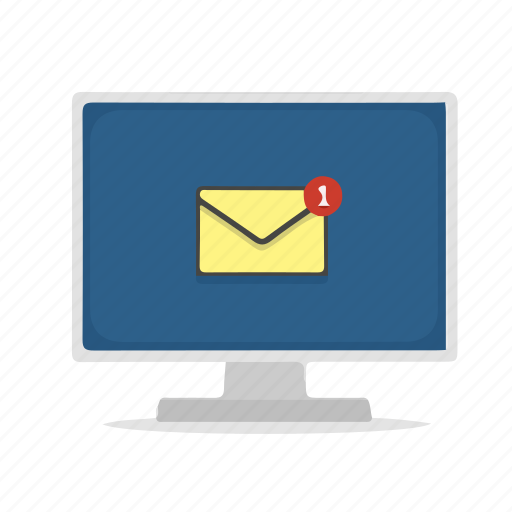 computer, display, email, inbox, message, notification icon