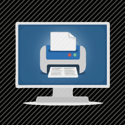 computer, display, printer, virtual printer icon