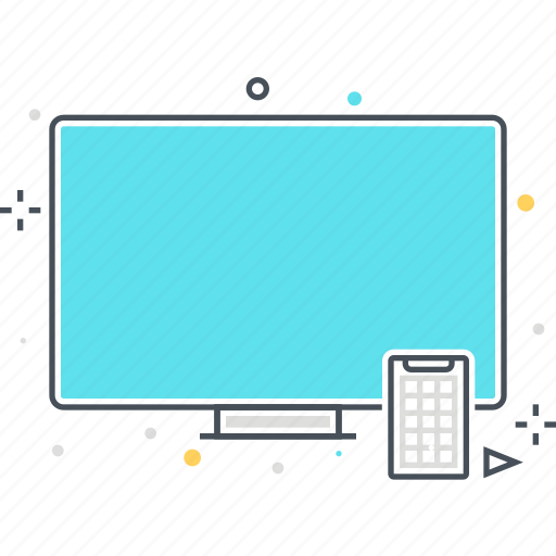 computer, desktop computer, entertainment, mobile phone, technology, television, tv icon