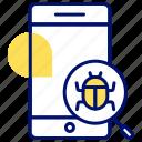 bug, code, hack, internet, mobile bug, seo, virus icon