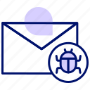 code, email bug, hack, infect, internet, spam, virus icon
