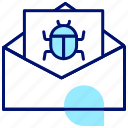 spam, email bug, infect, virus, code, internet, hack icon