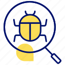 hack, infect, search bug, search defect, search virus icon