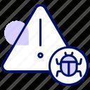 bug, error, hack, infect, virus, warning icon