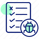bug, defect, defect report, document, incident report, testing icon