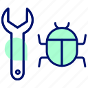 bug, defect, error, virus, repair, hack icon