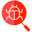 search virus, search defect, hack, infect, search bug icon