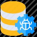 database bug, defect, error, hack, infect icon