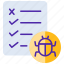 bug, defect, incident report, document, testing, defect report icon