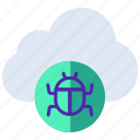 threat, security, cloud error, virus, infected, internet bug icon